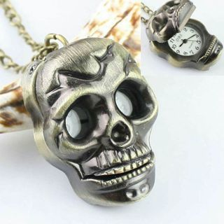 Vintage Skull Steampunk Retro Bronze Pocket Watch Quartz Chain Necklace Pendant