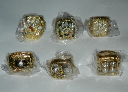 ALL (6) 1974, 1975, 1978, 1979, 2005, 2008 Pittsburgh Steelers Championship Rings + Box!