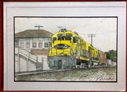 "YELLOW SANTE FE TRAIN - 5 x 7"" art card by artist Nina Struthers - GIN ONLY"