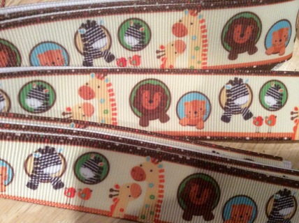 """1"""" Cute Baby Animals Printed Grosgrain Ribbon ~ Sewing ~ Taggies ~ Crafts ~ Cards ~ Scrapbooks"""
