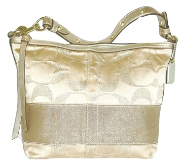 "RARE! COACH #12909 - Shimmery Gold Signature ""C"" Studded Lurex"
