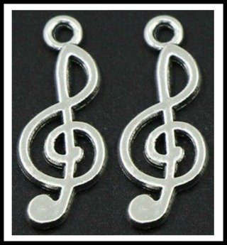 2 (TWO) pc Set! CLEF MUSIC SYMBOL Tibetan Silver Charms Pendants, 23mm x 11mm, Brand NEW!