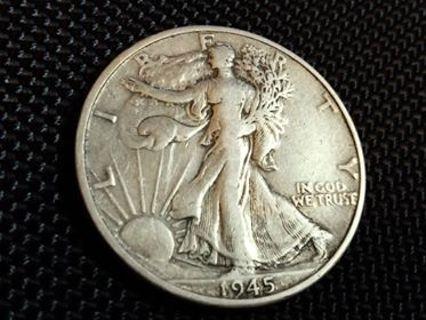 1945 D Silver Walking Liberty Half Dollar