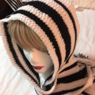 Hand Crochet Black and White Scarf with Tassels .