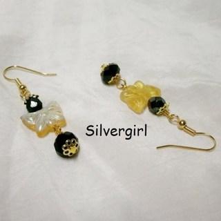 Yellow Black Dangle Butterfly Earrings
