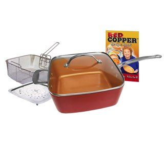 Brand New !! As Seen on TV Red Copper Non-Stick Square Ceramic Cookware 5 Piece Set