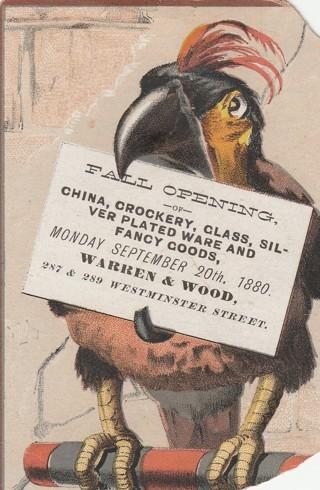 Very Old Handbill Flyer Advertising Trade Card for Providence, RI Store 1880 Parrot Full Color