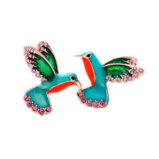 Gifts Alloy Women Stud Earring Crystal Drill Bird Shape Earrings Enamel Glaze