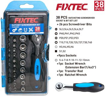 38-Piece Screwdriver Bit Set and Ratchet Wrench