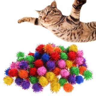 100pcs Colorful Tinsel Pom Pom Balls For Cat Kitten Funny Kids Play Toys Game