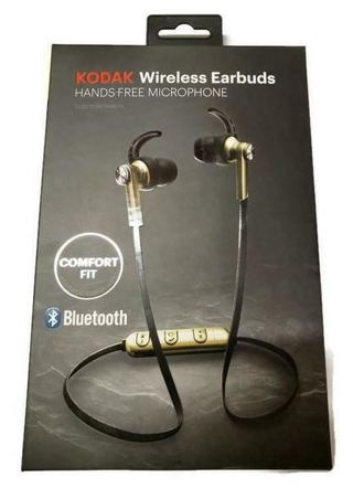 Brand New Kodak Wireless Bluetooth Earbuds Headset w/Hands-Free Microphone Gold Colored