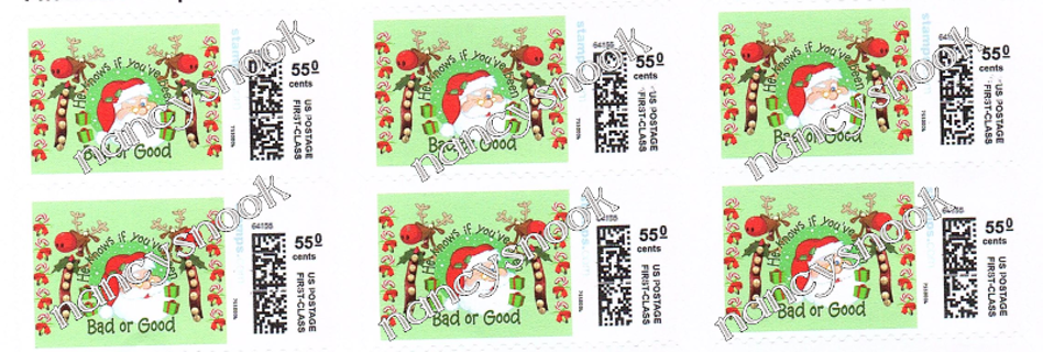 "6 count of Official USPS 55 cent postage stamps ""SANTA"""