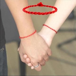 2pcs Simple Unisex Red Kabbalah String Lucky Handmade Bracelet Adjustable