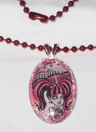 """MONSTER HIGH Sparkle CHARM PENDANT! 18"""" ball chain necklace - DRACULAURA!"""
