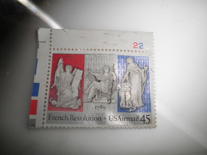 1789 FRENCH REVOLUTION USAIRMAIL POSTAGE STAMP 45 CENT UNUSED