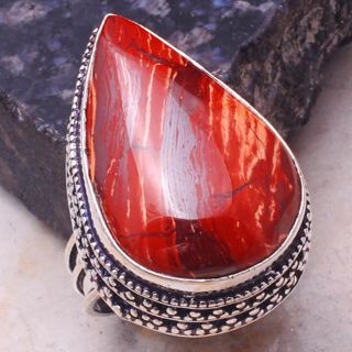 PRETTY RED RIVER JASPER ANTIQUE STYLE GEMSTONE RING SIZE 8