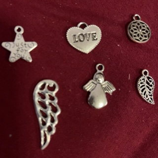 Six Zink Alloy Antique Silver Charms. #18