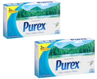 2 x Purex Fabric Softener Dryer Sheets (40 Count x 2)