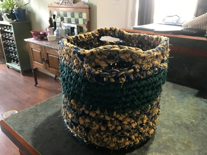 """Handmade Large Purse Shopping Bag Tote Laundry Basket from Rag Material """"Makes a Great Gift"""""""