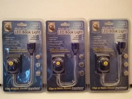 Lot Of 3 Innovage Multi- Task LED Book Lights