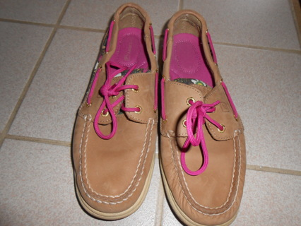 sperry pink + tan floral top sliders -8m euc