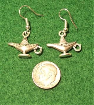 New Silver Tone Aladdin's Lamp Earrings