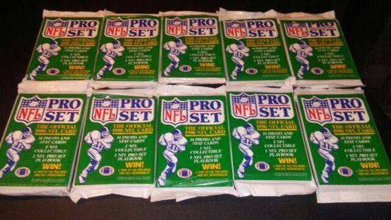 10 packs 1990 green nfl pro set football cards