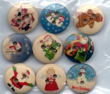 Mixed Christmas Pattern Sewing Wooden Buttons