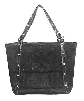 "COACH #12905 - Shimmery Black Signature ""C"" Studded Lurex Tote!"