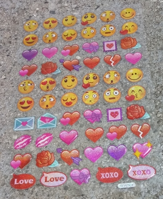 EMOJI AND HEARTS VINYL STICKERS