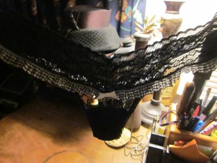 Super Rare Black Lacie Victoria Secret Thong Panties Underwear with Black Plaid Ruffle One Size