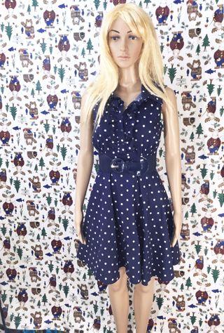 WOMEN'S NAVY BLUE POLKA DOT DRESS VENUS