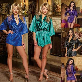 Sexy Lingerie Women Lace Gown Bath Robe Underwear Sleepwear Kimono + G-string