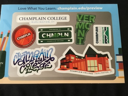 7 - CHAMPLAIN COLLEGE, VERMONT Stickers / Decals ~ ASSORTED