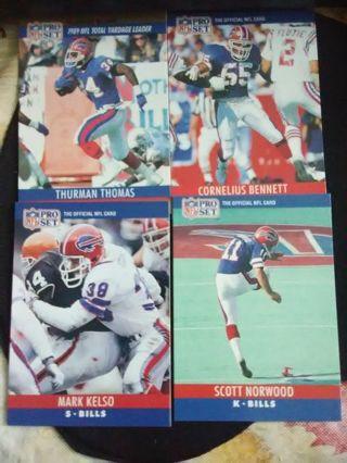 4 - 1990 NFL Pro Set (Series 1) Buffalo Bills Football Cards