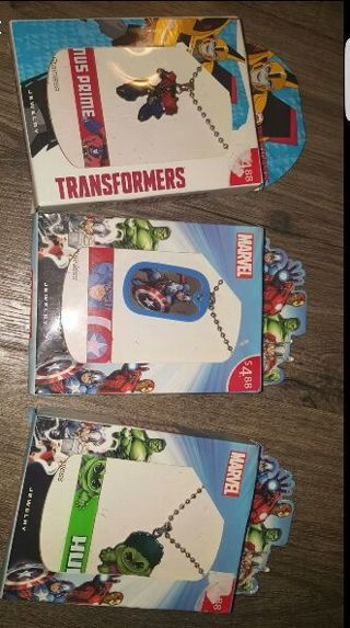 NEW 3 x Boys Super Heroes Gift Sets Bracelets Dog Tags Necklace Transformers