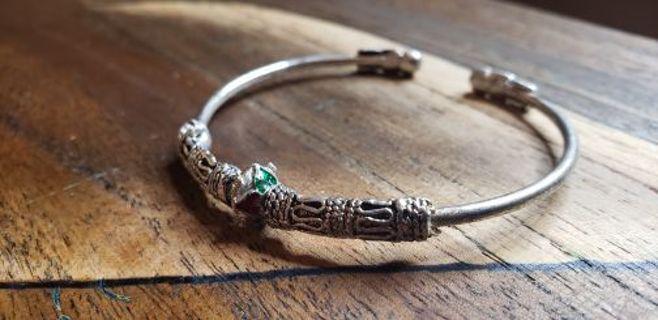 Children's Pewter & Metal gemstone Braclet. Size small. FREE SHIPPING