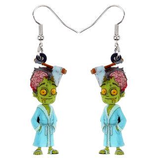 1 Pairs Acrylic Halloween Horrible Bathrobe Zombie Earrings