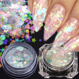 Full Beauty AB Color Nail Glitter Flakes Mermaid Chameleon Sequins Powder Irregular Star Heart Rou