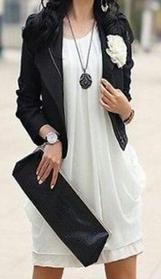 White Chiffon Mini Dress/Blouse - Large