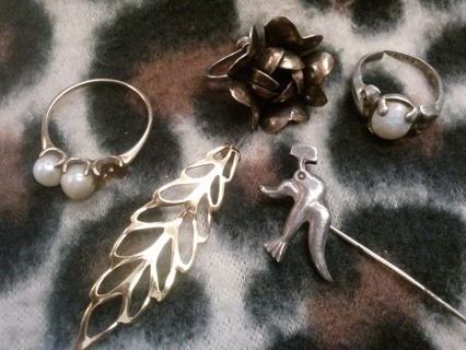 Scrap 10 K Gold Ring 925 Sterling Silver Jewelry Lot Pearl Opal Craft Harvest Repair and/or Wear
