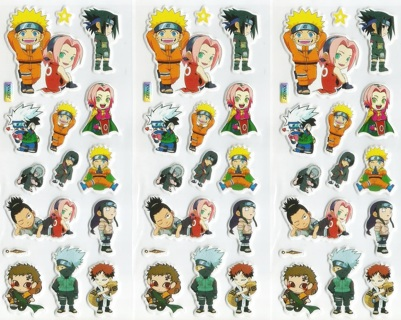 NEW NARUTO Chibi Puffy Pop Up 3-D Bubble Foam Stickers Super Cute Sheets (3-Pack) FREE SHIPPING