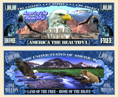America the Beautiful Eagle Million Dollar Bill Collectible Fake Play Funny Money $ Novelty Note