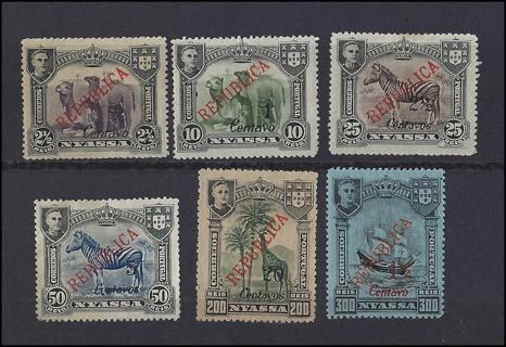 1921 (Portuguese) Nyassa Lisbon Issue stamps (6), MH/VF, est CV $19.25
