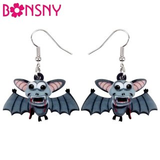 Bonsny Acrylic Halloween Anime Blood Bat Earrings Drop Dangle Fashion Novelty Animal Jewelry For