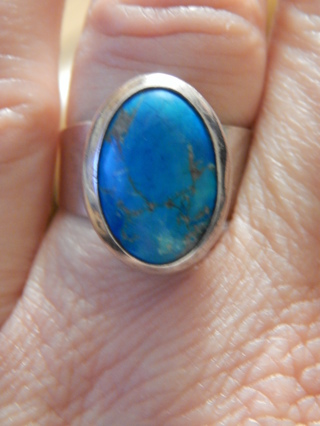 BEAUTIFUL REAL TURQUOISE STERLING SILVER STAMPED &SIGNED ADJ RING SIZE 7