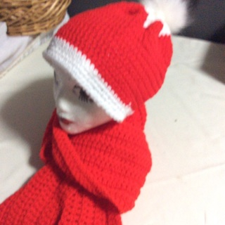 Beautiful Holiday Gift Giving Set. Hand Crochet Long Scarf and Hat.