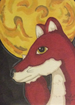 Fox under moon original drawing aceo