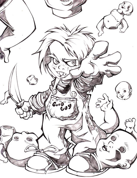 Free: 1 *GOODGUY DOLL * CHUCKY* COLORING PAGE - Halloween ...
