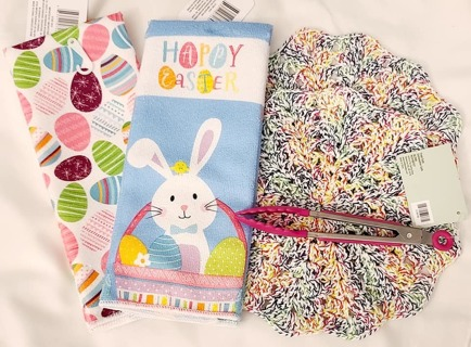 "Crochet 2 - 9"" Dish Cloth/Wash Cloths 2 MICRO TOWELS & TONGS"